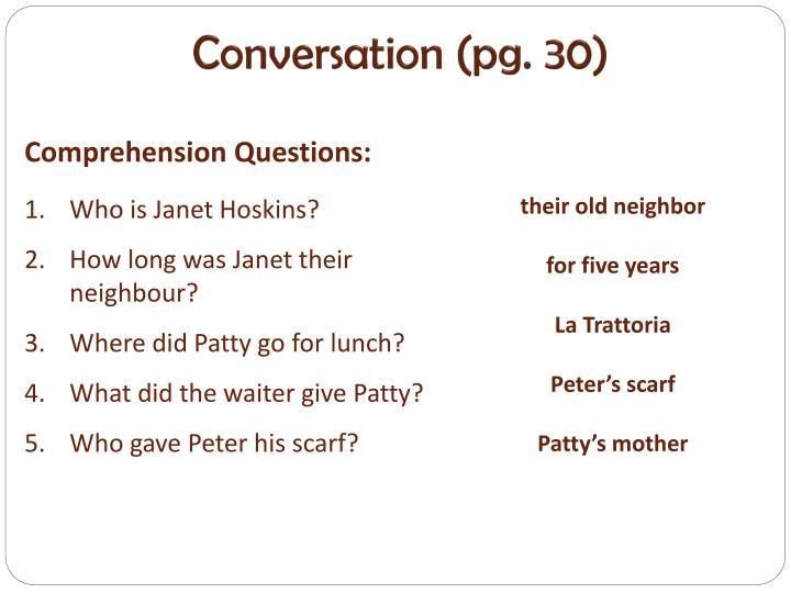 Conversation (pg. 30)