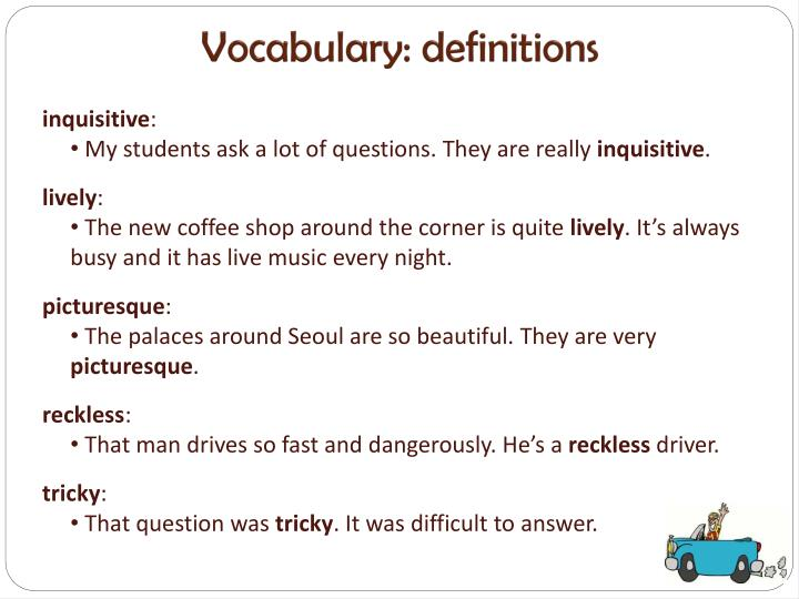 Vocabulary: definitions