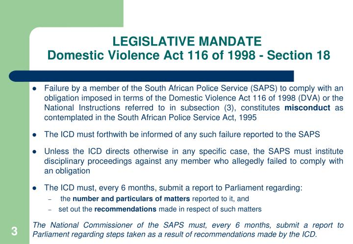 Legislative mandate domestic violence act 116 of 1998 section 18