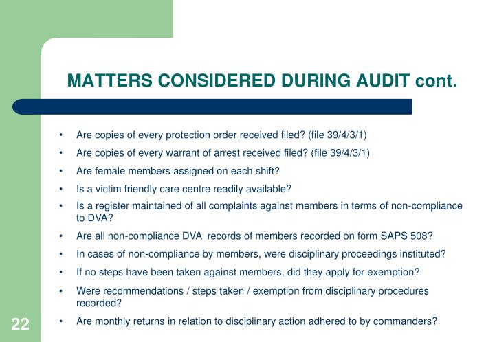 MATTERS CONSIDERED DURING AUDIT cont.