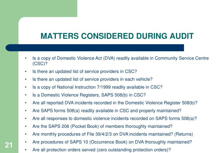 MATTERS CONSIDERED DURING AUDIT