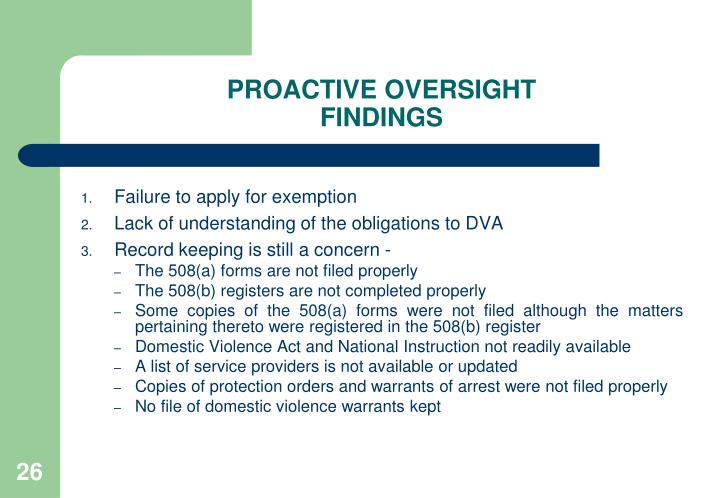 PROACTIVE OVERSIGHT