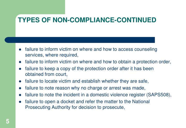 TYPES OF NON-COMPLIANCE-CONTINUED