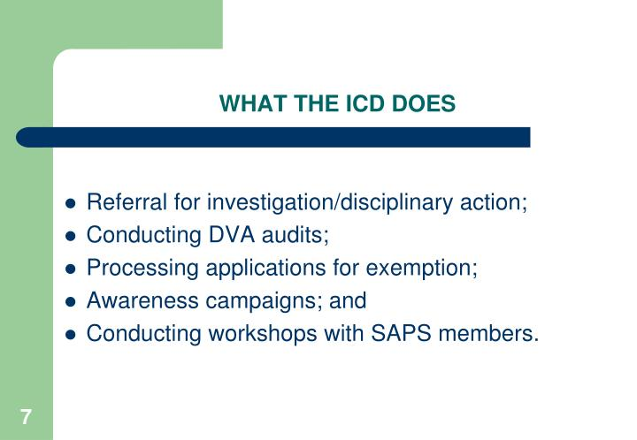 WHAT THE ICD DOES