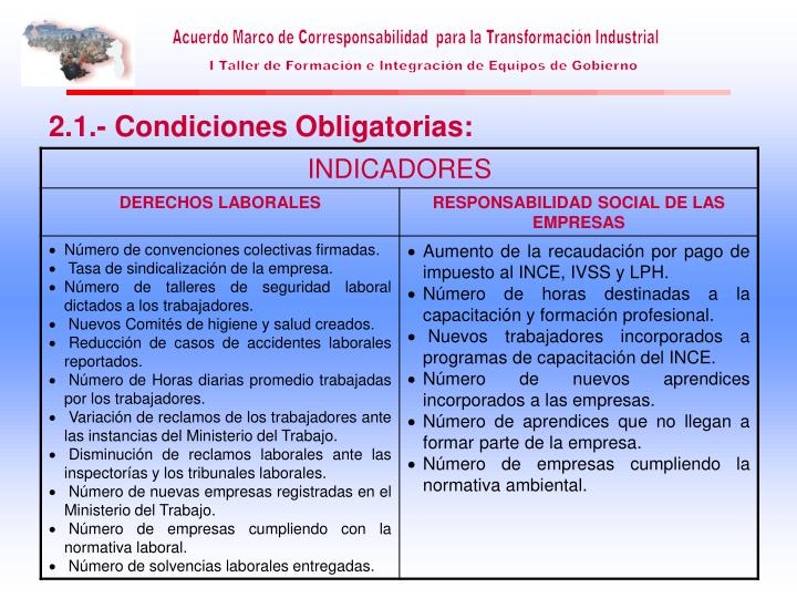 2.1.- Condiciones Obligatorias: