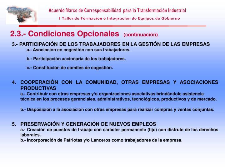2.3.- Condiciones Opcionales