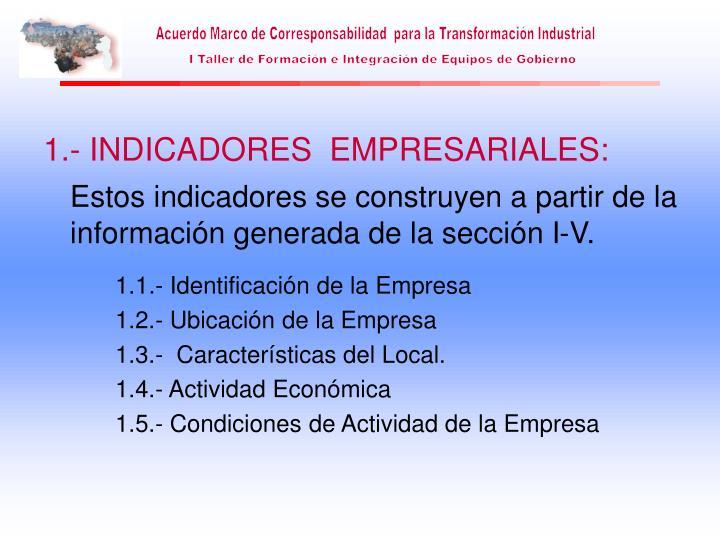 1.- INDICADORES  EMPRESARIALES: