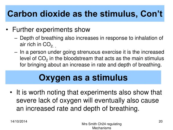Carbon dioxide as the stimulus, Con't
