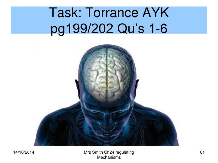 Task: Torrance AYK