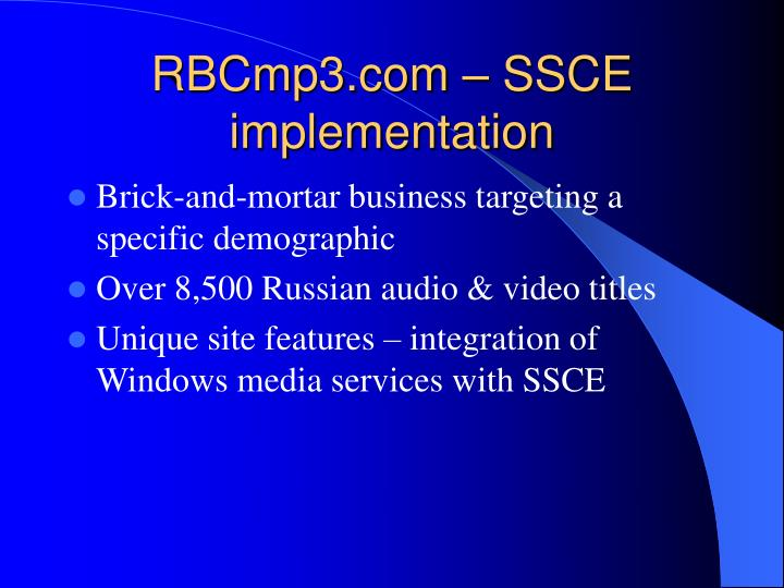 RBCmp3.com – SSCE implementation