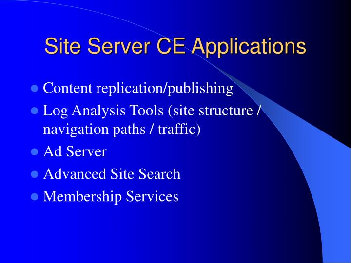 Site server ce applications