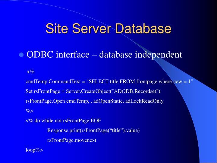 Site Server Database