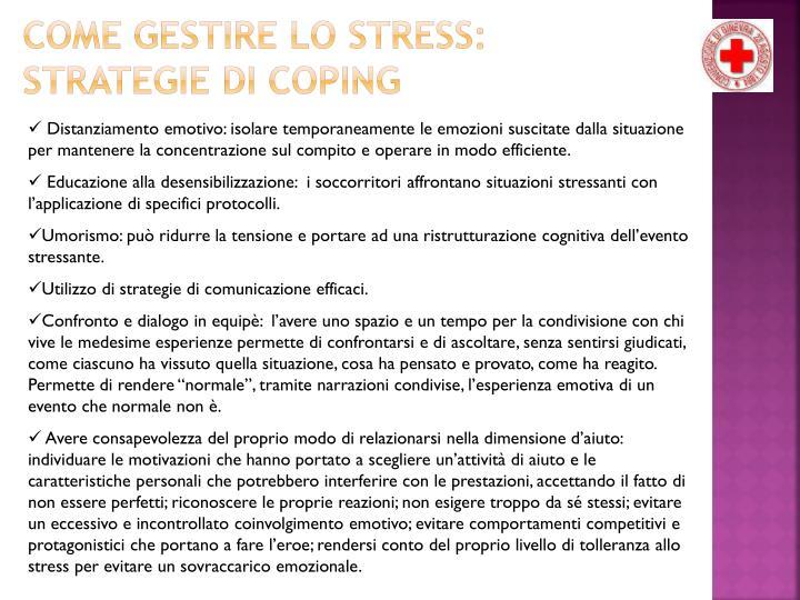 COME GESTIRE LO STRESS: