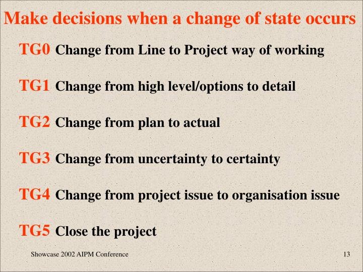 Make decisions when a change of state occurs