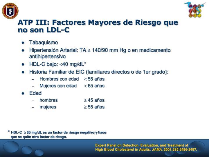 ATP III: Factores Mayores de Riesgo que no son LDL-C