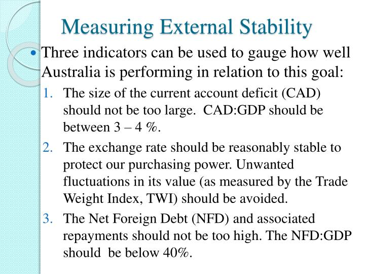 external stability Economic stability is the absence of excessive fluctuations in the macroeconomy  an economy  contents 1 measuring stability 2 causes of instability 3 effects of  instability 4 stabilization policy 5 see also 6 references 7 external links.