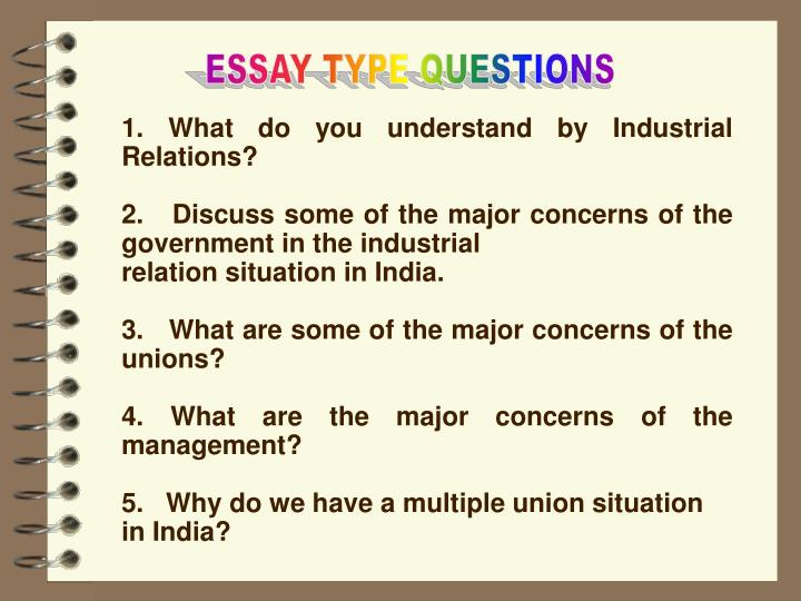 ESSAY TYPE QUESTIONS