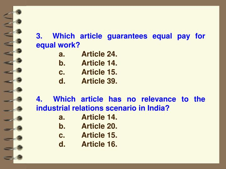 3.  Which article guarantees equal pay for                                                                                                    equal work?