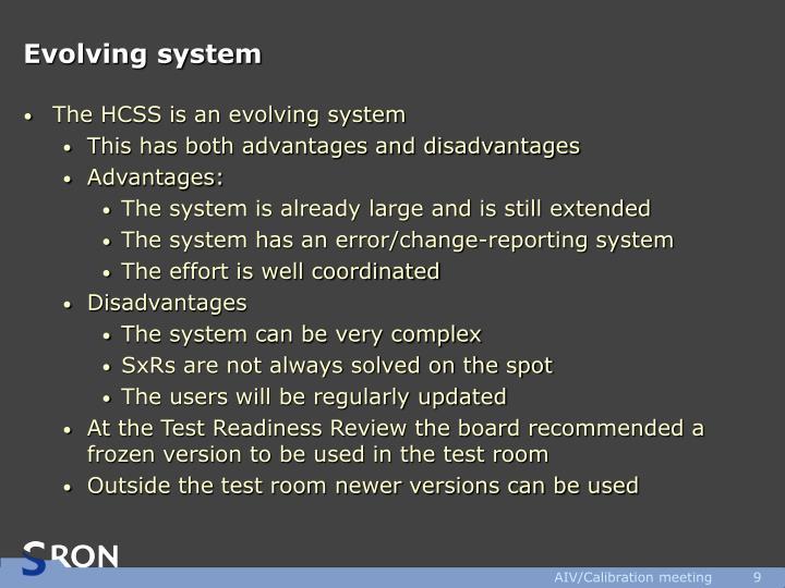 Evolving system