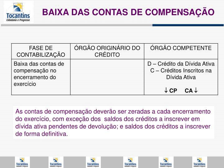 BAIXA DAS CONTAS DE COMPENSAÇÃO