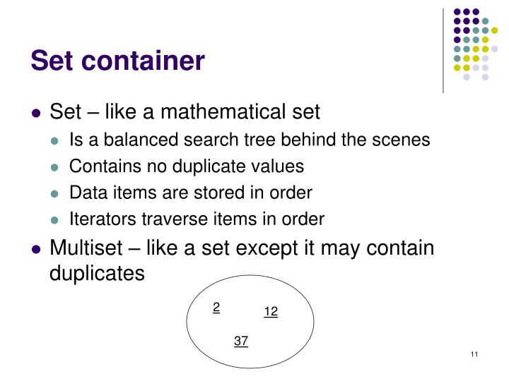 Set container