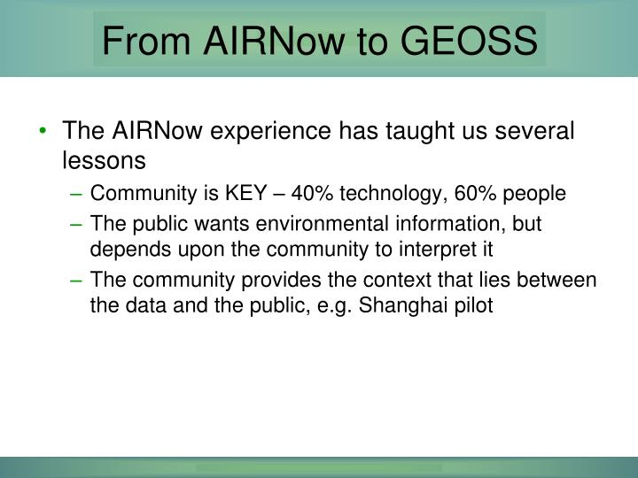 From AIRNow to GEOSS