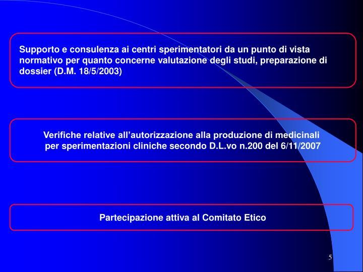 Supporto e consulenza ai centri sperimentatori da un punto di vista normativo per quanto concerne valutazione degli studi, preparazione di dossier (D.M. 18/5/2003)