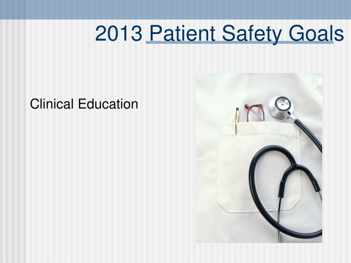 2013 Patient Safety Goals