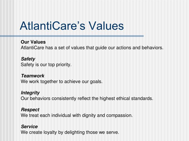 AtlantiCare's Values