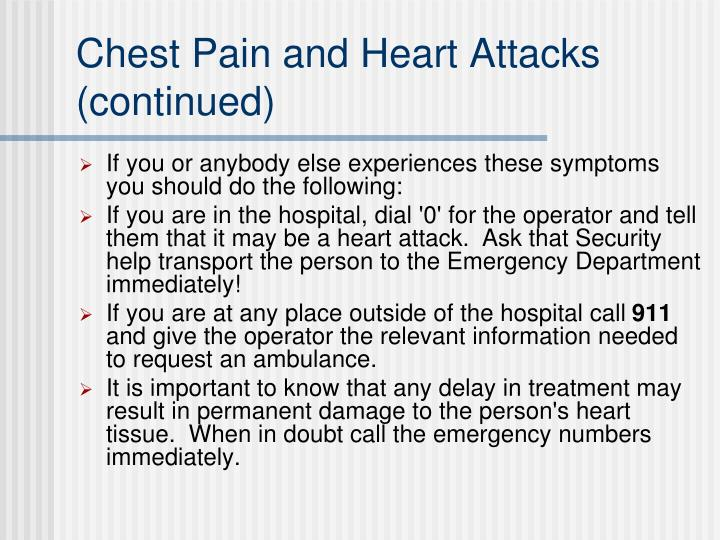 Chest Pain and Heart Attacks (continued)