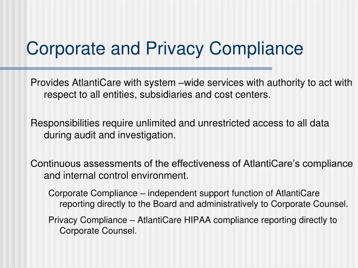 Corporate and Privacy Compliance