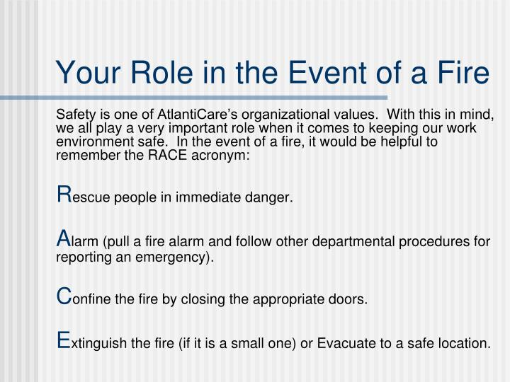 Your Role in the Event of a Fire