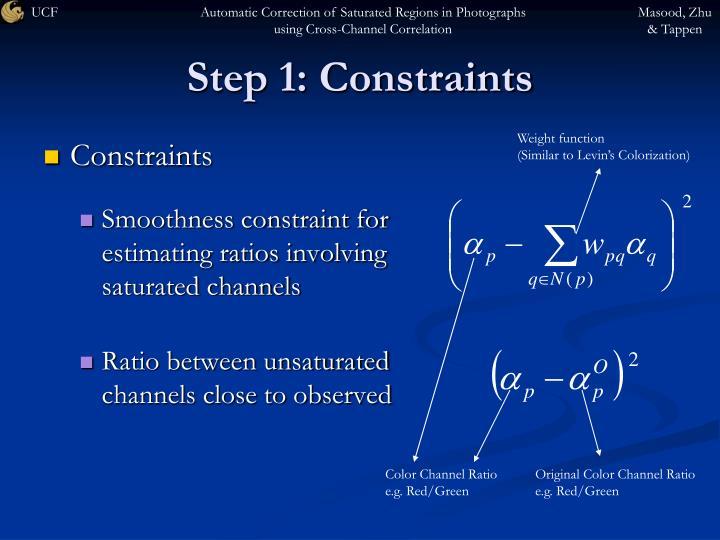 Step 1: Constraints