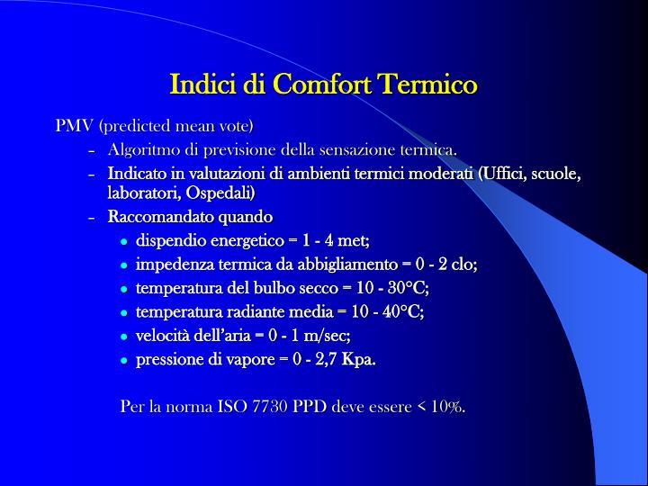Indici di Comfort Termico
