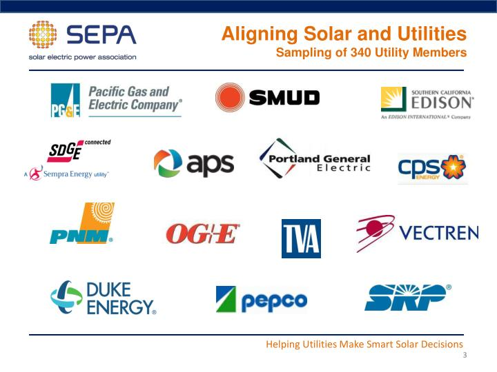 Aligning solar and utilities sampling of 340 utility members