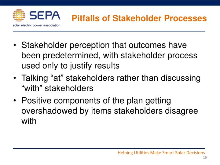 Pitfalls of Stakeholder Processes