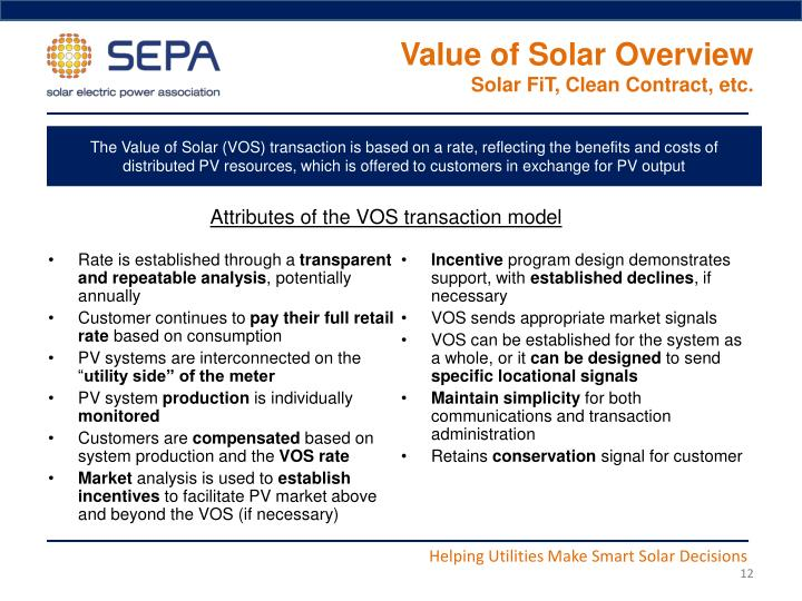 Value of Solar Overview