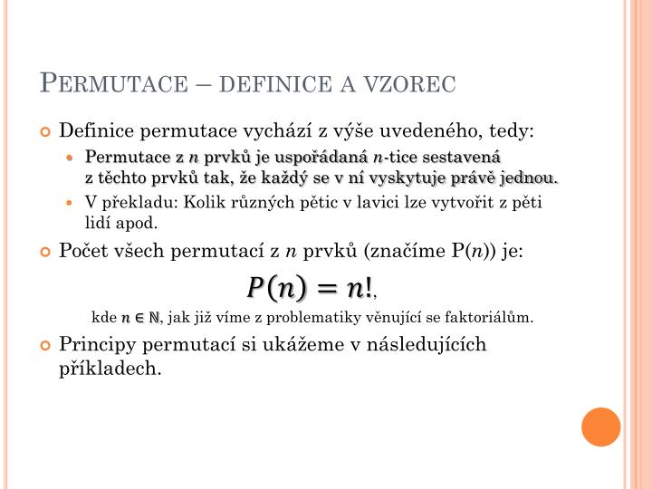 Permutace – definice a vzorec