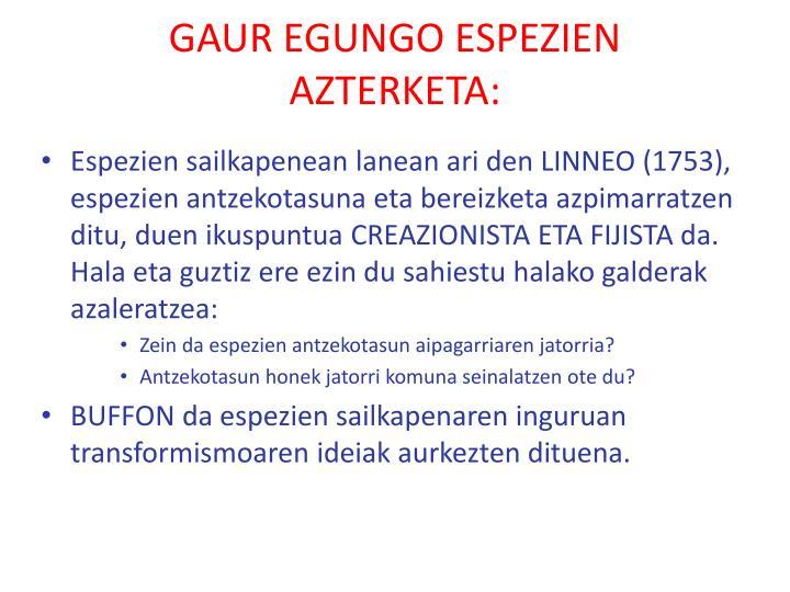 GAUR EGUNGO ESPEZIEN AZTERKETA: