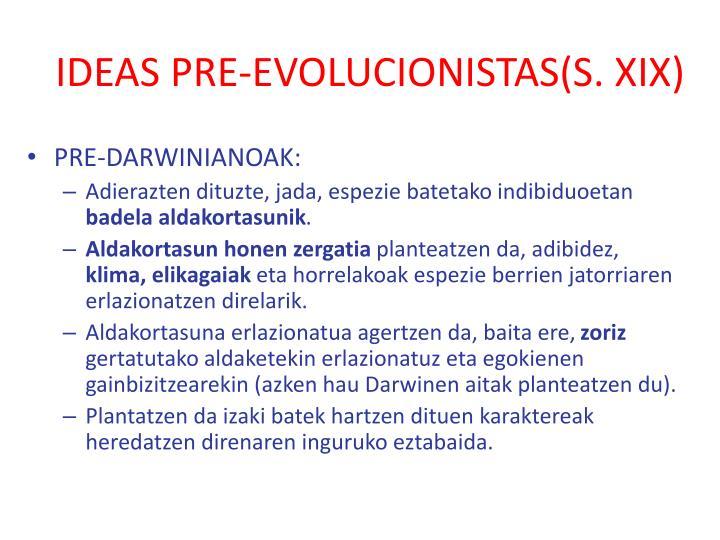 IDEAS PRE-EVOLUCIONISTAS