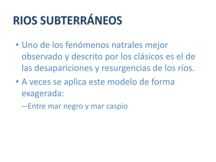 RIOS SUBTERRÁNEOS
