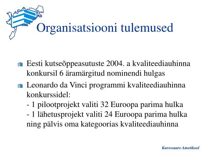 Organisatsiooni tulemused