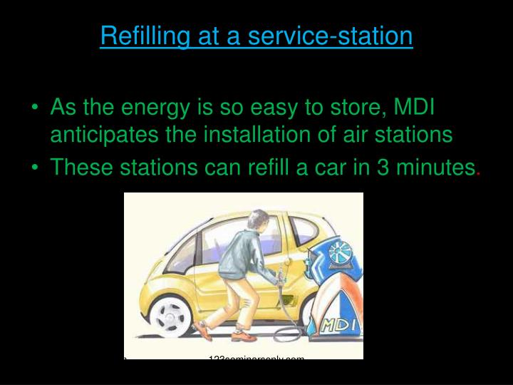 Refilling at a service-station