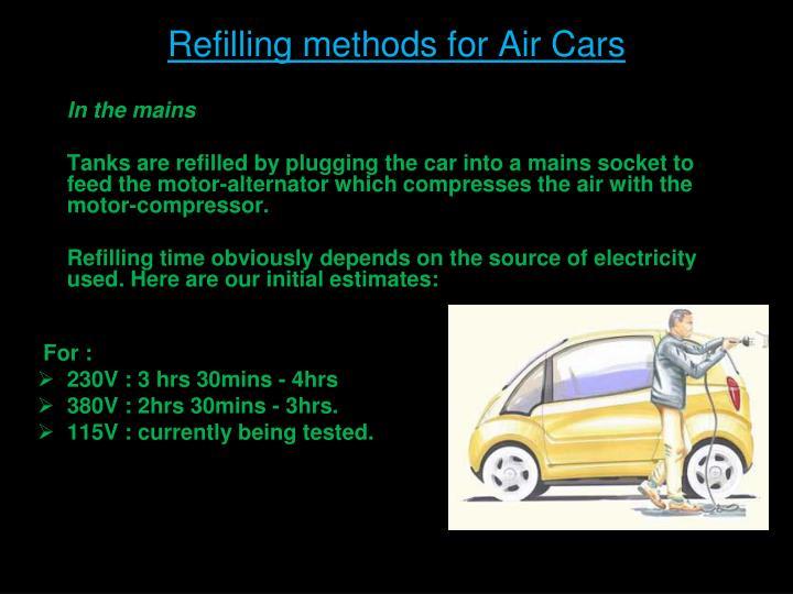 Refilling methods for Air Cars