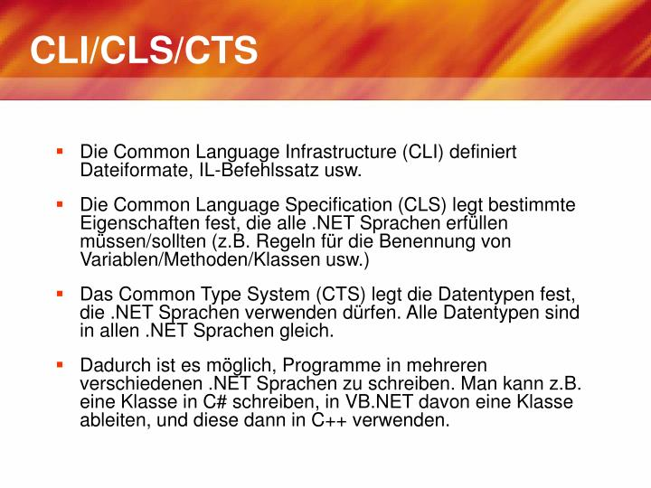 CLI/CLS/CTS