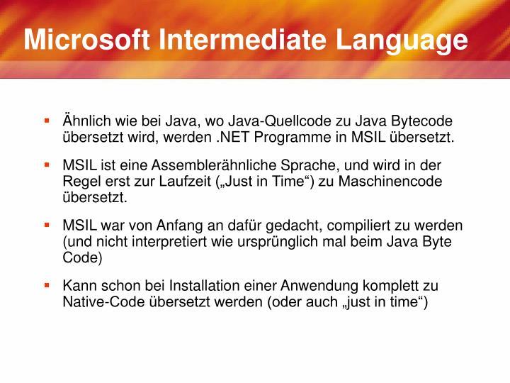 Microsoft Intermediate Language