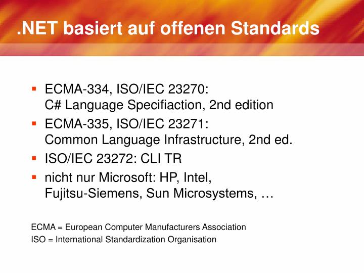 .NET basiert auf offenen Standards