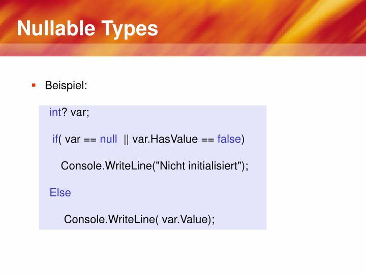 Nullable Types