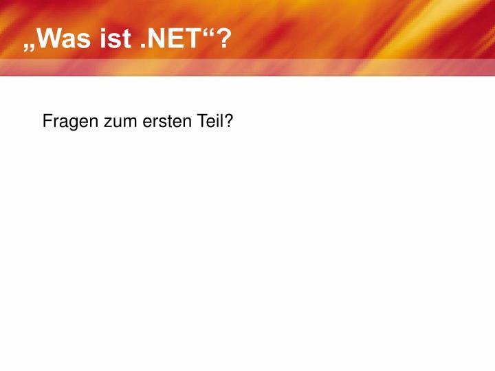 """""""Was ist .NET""""?"""