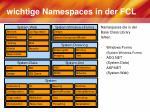 wichtige namespaces in der fcl